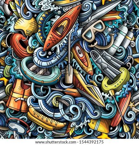 Cartoon cute doodles hand drawn water extreme sports seamless pattern. Stock photo © balabolka