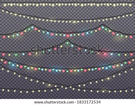 bannière · lumières · guirlande · coloré · ampoules · bokeh - photo stock © galitskaya
