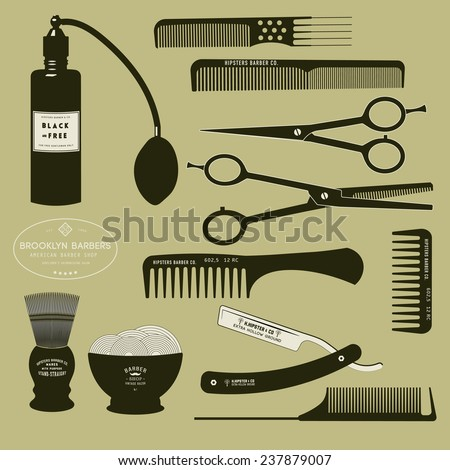 Collection silhouette of Haircutting tools and barbershop object Stock photo © Margolana