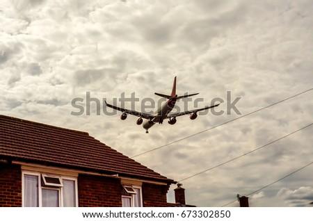 jato · condensação · trilha · avião · quatro - foto stock © ruslanshramko