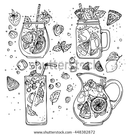 Hand drawn vector summer ice drink with citrus and berries. Lemon and mint. Detox water sketch. Line Stock photo © bonnie_cocos