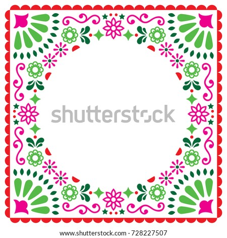 Mexican folk vector wedding or party invitation, greeting card, colorful frame design with blue flow Stock photo © RedKoala