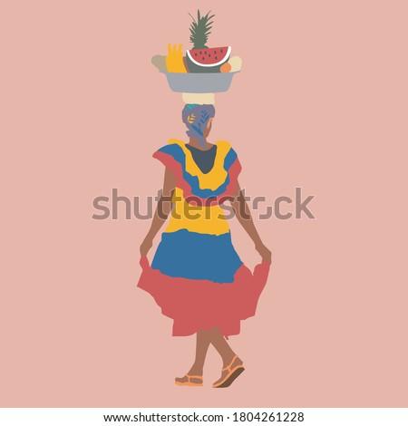 Vruchten verkoper jurk kleuren vlag Stockfoto © boggy