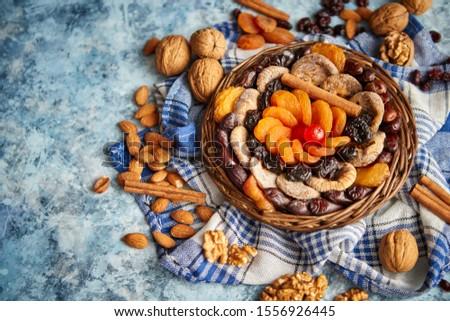 сушат плодов орехи небольшой плетеный чаши Сток-фото © dash