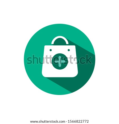 Pharmacy shop icon with shadow on a green circle. Vector pharmacy illustration Stock photo © Imaagio