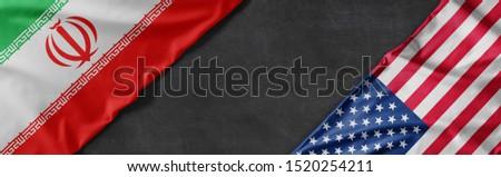 Bayraklar İran Amerika Birleşik Devletleri Amerika bo iş Stok fotoğraf © Zerbor