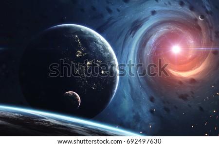Galaktyki przestrzeni piękna wszechświata czarna dziura elementy Zdjęcia stock © NASA_images