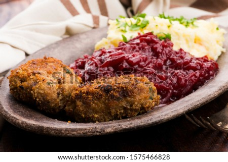Prepared dinner on the plate. Melted meat, potatoes, beetroot Stock photo © joannawnuk