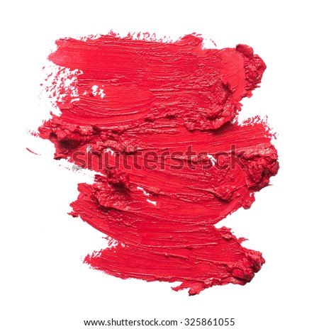 crushed eyeshadows lipstick and powder isolated on white backgr stock photo © anneleven