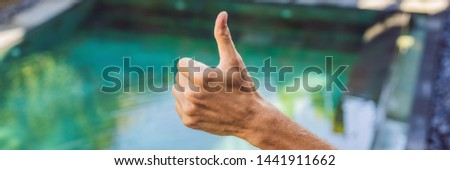 Hand shows like. Pool quality, pool cleaning BANNER, LONG FORMAT Stock photo © galitskaya