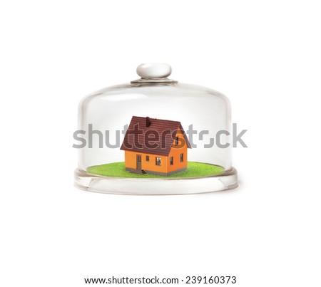 Propiedad seguro icono casa vidrio cúpula Foto stock © gomixer