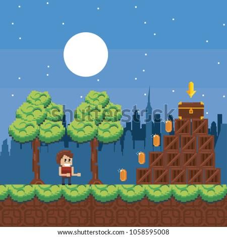Fighting Game Pixel Character on Scene Arcade Stock photo © robuart