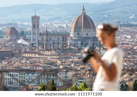 Splendid Florence, Italy, with out of focus female photographer  Stock photo © lightpoet