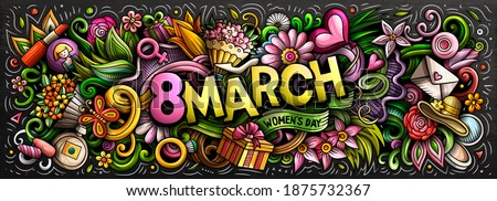 8 March hand drawn cartoon doodles illustration. Colorful vector banner Stock photo © balabolka