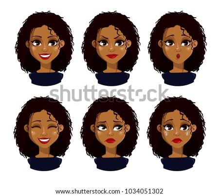 Atraente loiro mulher diferente expressões faciais vetor Foto stock © ukasz_hampel