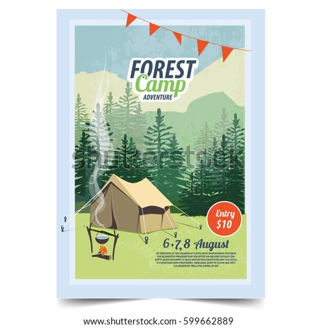 Summer Camping poster. Tent, Campfire, Pine forest and rocky mountains background, vector illustrati Stock photo © ikopylov