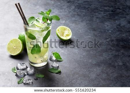 Vetro mojito cocktail menta calce Foto d'archivio © DenisMArt