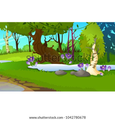 Picturesque landscape with a spring forest, snowdrops or crocuses, birch and green grass. Sketch of  Stock photo © Lady-Luck