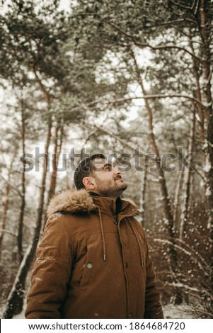 Man Stand and Smile in Forest, Winter Landscape Stock photo © robuart