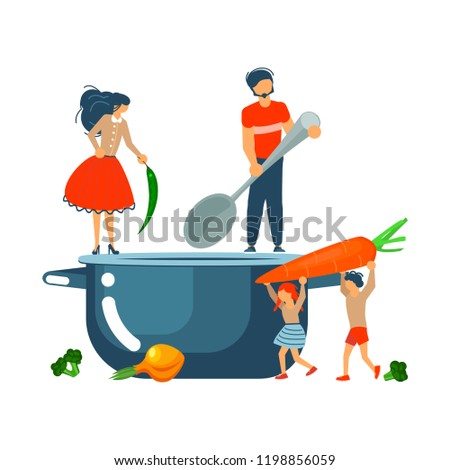 Family Preparing for Dinner in Kitchen Vector Stock photo © robuart