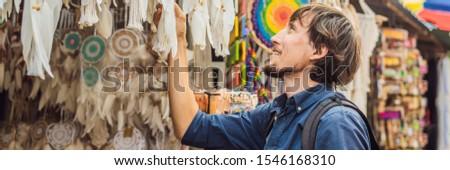 Banner długo format człowiek rynku bali Zdjęcia stock © galitskaya