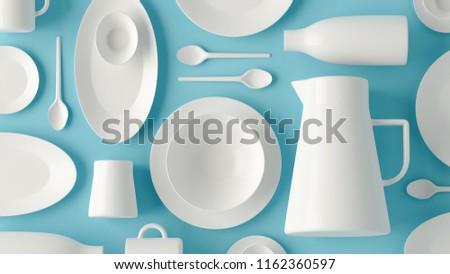 White tableware crockery set, empty cup on blue flatlay backgrou Stock photo © Anneleven
