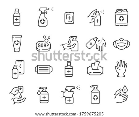 medical sign set - with corona, soap/disinfection dispenser, mask, wash your hands  Stock photo © djdarkflower