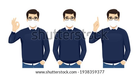 Businessman wears protective mask against transmissible infectious disease, reads newspapers, dresse Stock photo © vkstudio