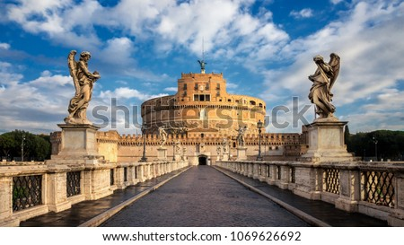 Castel Sant Angelo or The Mausoleum of Hadrian and Tiber river b Stock photo © xbrchx