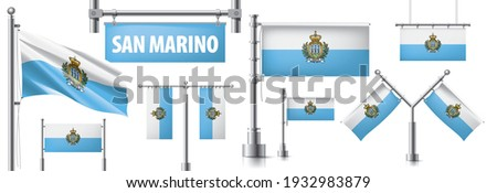 Vector set of the national flag of San Marino in various creative designs Stock photo © butenkow