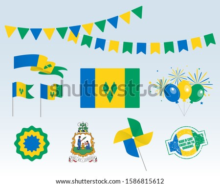Vector set of the national flag of Saint Vincent and the Grenadines Stock photo © butenkow