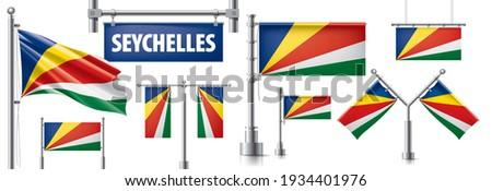 Wektora zestaw banderą Seszele różny twórczej Zdjęcia stock © butenkow