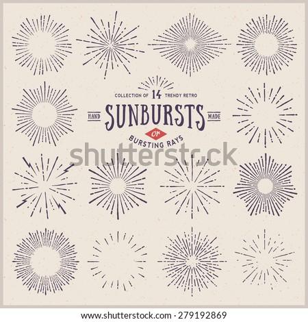 Set of Vintage Sunbursts in Circle Shapes. Trendy hand drawn retro bursting rays design elements. Ve Stock photo © designer_things