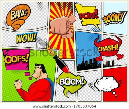 Grunge Retro Comic Speech Bubbles. Background with radial halftone effects and rays in pop-art style Stock photo © designer_things