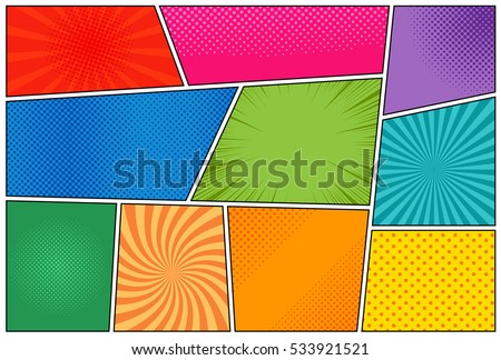 Comic book page template with radial halftone effects and rays in pop-art style. Colorful empty back Stock photo © designer_things