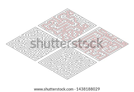 Two different mazes of medium complexity in isometric view on white and solution with red paths Stock photo © evgeny89
