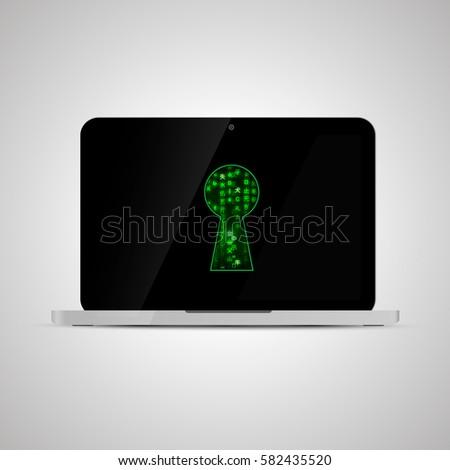 現実的な ノートパソコン 行列 コード 前方後円墳 ストックフォト © evgeny89