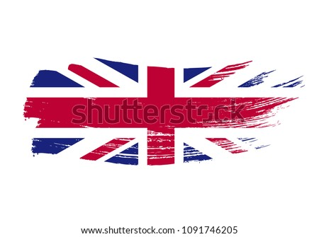 Grunge brush stroke with United Kingdom national flag on white Stock photo © evgeny89