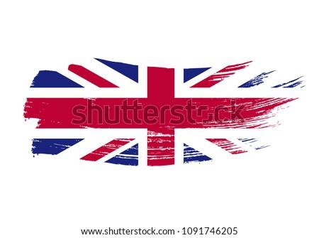 Гранж щетка Великобритания флаг белый изолированный Сток-фото © evgeny89