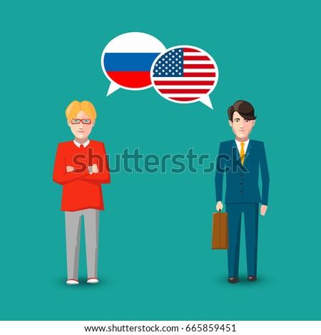 Dos personas blanco Rusia EUA banderas Foto stock © evgeny89