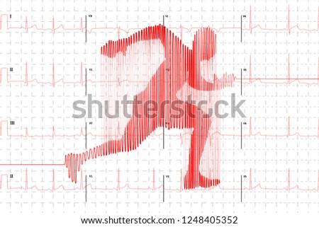 Red human electrocardiogram in runner shape on white graph paper, healthy life concept illustration Stock photo © evgeny89