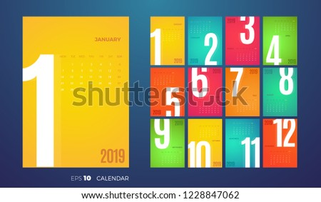 Set of 2019 year simple vertical calendars on different languages like english, german, russian, fre Stock photo © evgeny89