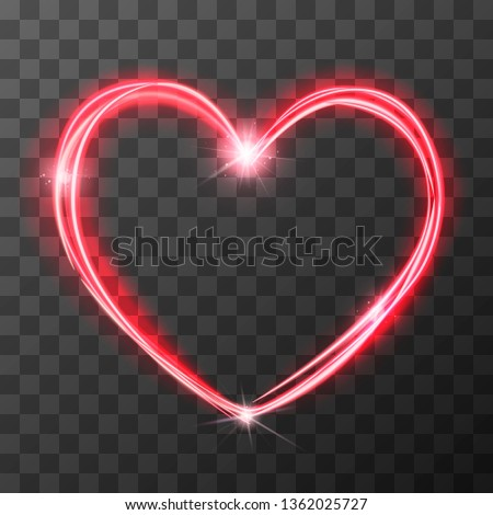 Neon blurry love symbol, red magic light trail effect at motion. Luminous rays in heart shape on tra Stock photo © evgeny89