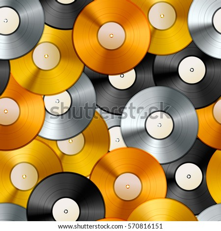 Golden, platinum and bronze albums, vinyl discs seamless pattern Stock photo © evgeny89