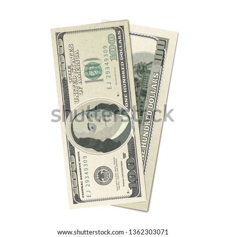 Couple of dummy one hundred USA dollars banknote, front and back detailed coupure on white Stock photo © evgeny89