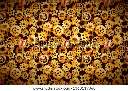 Clockwork mechanism with glossy golden steampunk cogwheels, wide background Stock photo © evgeny89