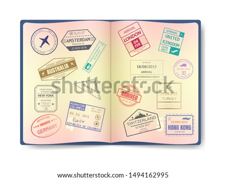 Spain International travel visa stamp isolated on white. Arrival sign purple rubber stamp with textu Stock photo © evgeny89