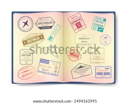 Spanyolország nemzetközi utazás VISA bélyeg izolált Stock fotó © evgeny89