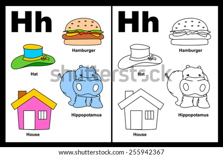 Kids alphabet coloring book page with outlined clip arts Letter I Stock photo © natali_brill