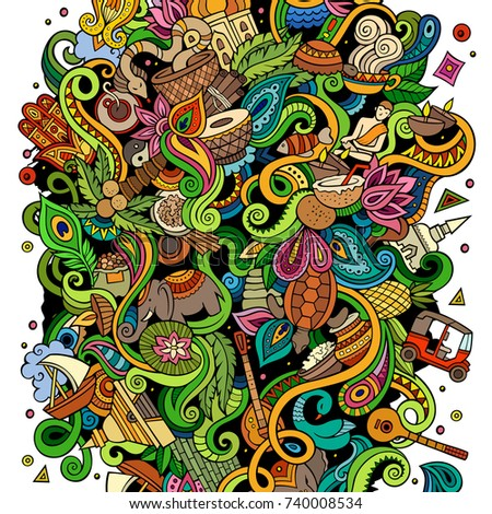 Sri Lanka hand drawn cartoon doodles illustration. Funny travel design. Stock photo © balabolka